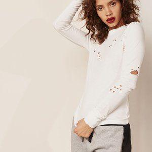 Kendall & Kylie distressed long sleeve top